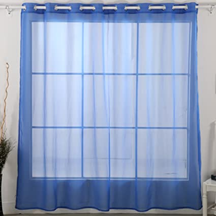 office window curtains vertical deconovo fashionable wide width grommet top gauze sheer voile curtain for office 100w 84 amazoncom