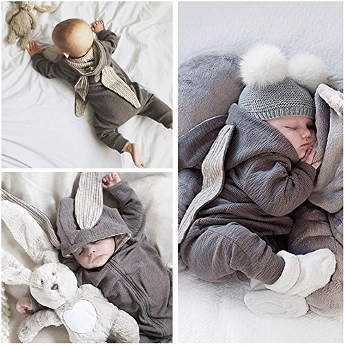 Yiwa Kids Toddler Baby Long Sleeve Hooded Rompers Jumpsuit Bunny Ears Trim 50
