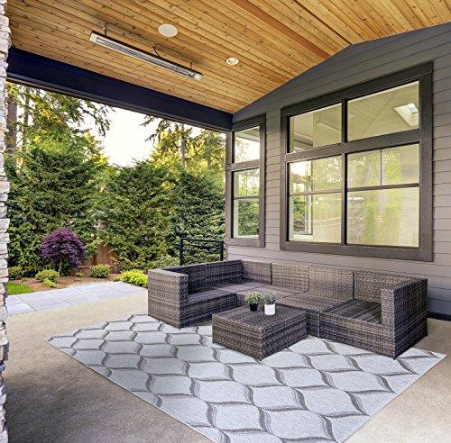 Gertmenian 21293 Seneca Platinum Modern Outdoor Patio Rug, 8x10 Large, 3-D Gray