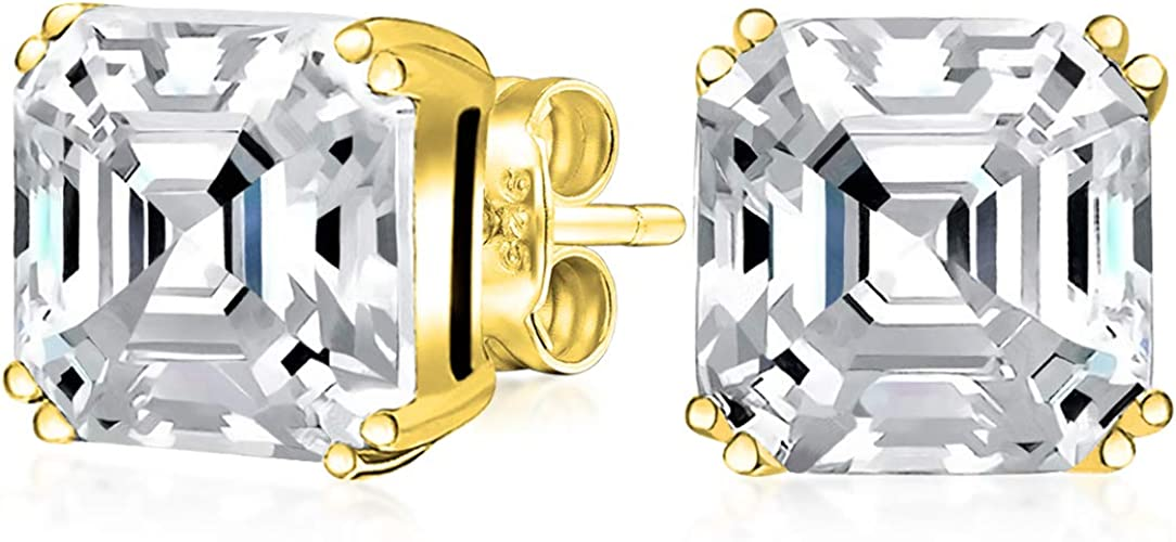 Square Solitaire Brilliant Princess Cut AAA CZ Stud Earrings For Women Men 14K Gold Plated Sterling Silver More Sizes