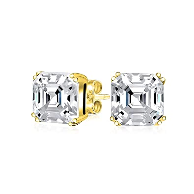 25c844254a73f Cubic Zirconia Solitaire Square Asscher Cut AAA CZ Stud Earrings For Women  14K Gold Plate 925 Sterling Silver More Sizes
