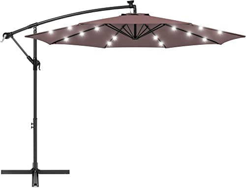 Best Choice Products 10ft Solar LED Offset Hanging Market Patio Umbrella