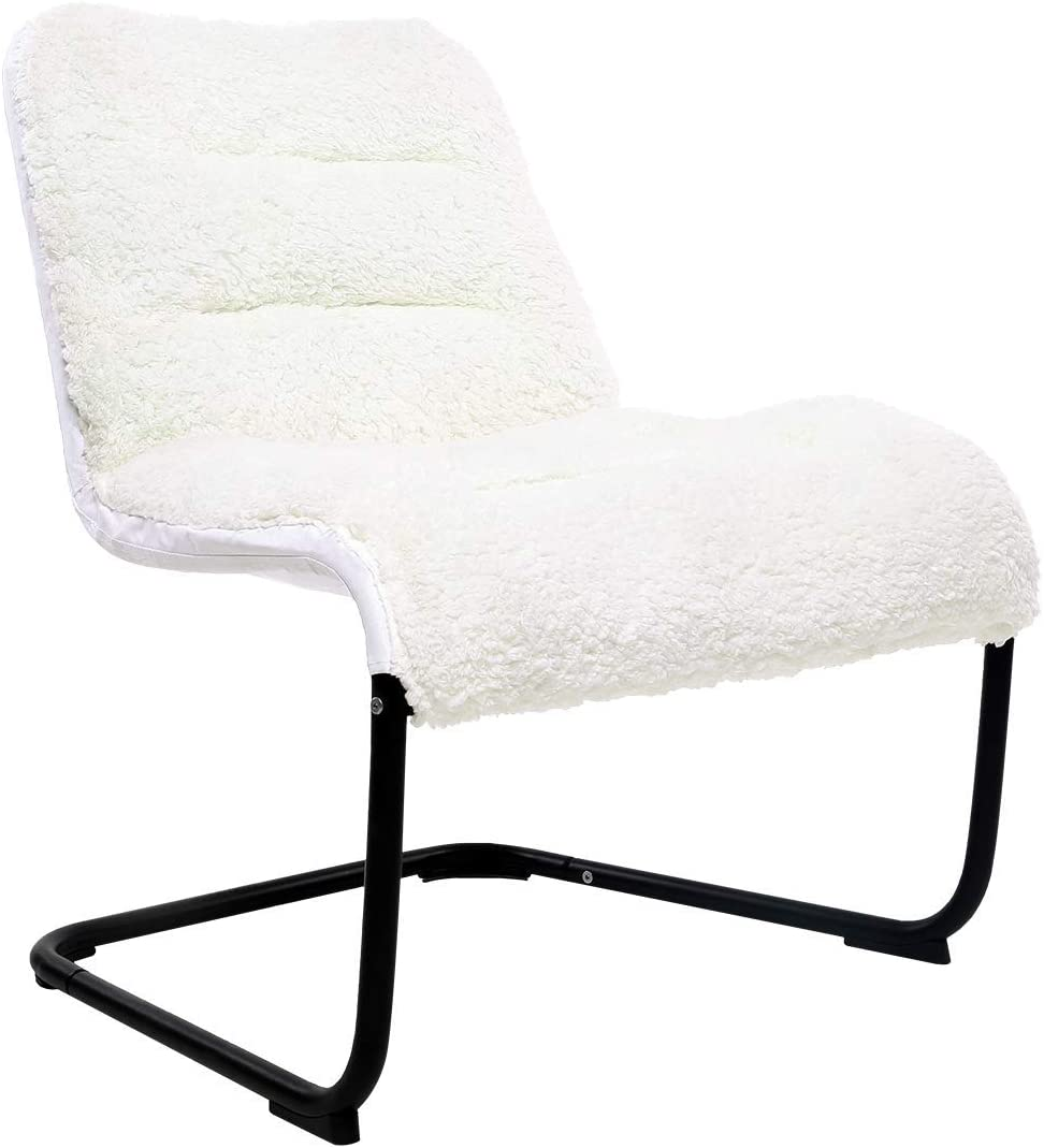 Comfortable Padded Collapsible Oversized Lounge Accent Chair White Sherpa Soft Cushion for Bedroom