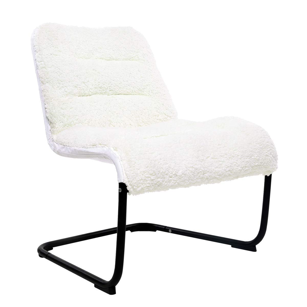 Comfortable Padded Collapsible Oversized Lounge Accent Chair White Sherpa Soft Cushion for Living Room Dorm Bedroom Patio Playroom Teen's Dens