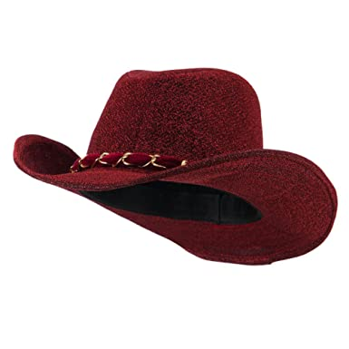 Glitter Cowboy Hat with Velvet Chain - Red OSFM at Amazon Women s ... c5ac5b83b70