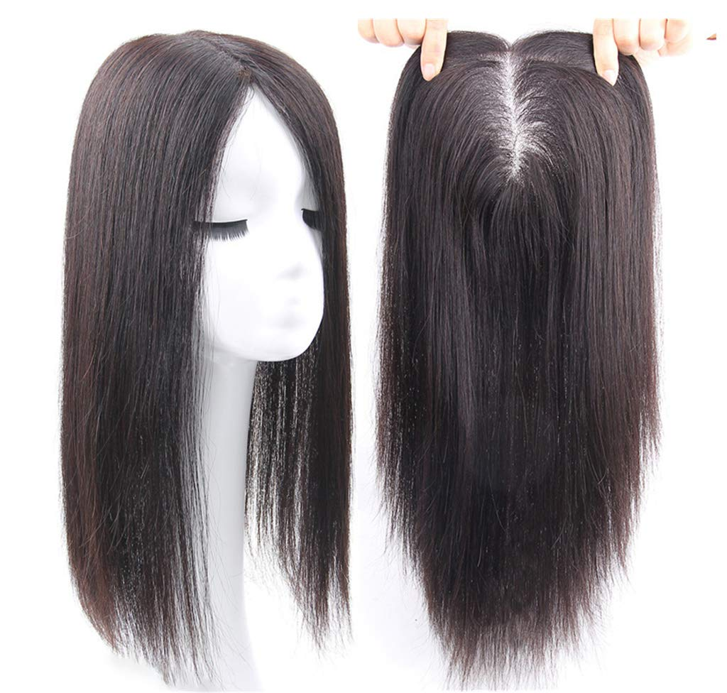 Free Parting Human Hair Clip in Toppers for Women, 6''x 6.7'' Large Mono Crown Topper Hairpieces for Thinning Hair, 16'' Dark Brown by Susanki (Image #4)