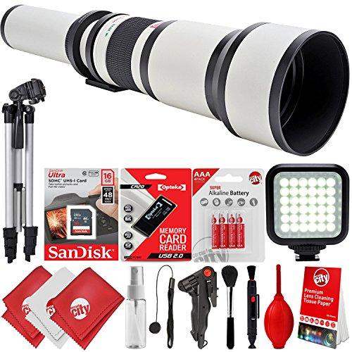 Opteka 650-1300mm f/8-16 High Definition Super Telephoto Zoom Lens for Canon EOS 80D, 77D, 70D, 60D, 7D, 6D, 5D, 7D Mark II, T7i, T6s, T6i, T6, T5i, T5, SL1 & SL2 Digital SLR Cameras