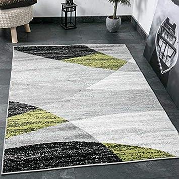 Wohnzimmer Teppich Modern Geometrisches Muster Gestreift Meliert In Grün  Weiss Schwarz Grau 60x110 Cm