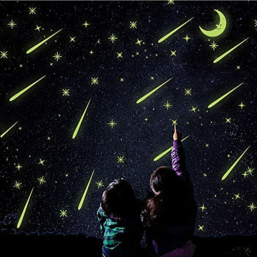 Falling Dot - Guang-T Glow in Dark Stars and Moon Meteor Shower Fluorescent Wall Stickers, Glowing Stars for Ceiling and Wall Decals Removable Wallpapers, Perfect for Kids Bedding Room or Party Birthday Gift