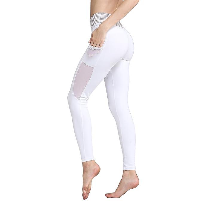 71c4deef65d79a Amazon.com: TERODACO Women Yoga Pants Side Pockets Workout Running Mesh  Leggings Elastic Lace Waist: Clothing