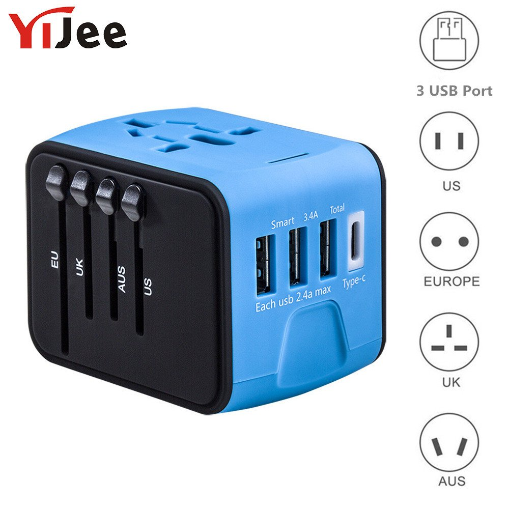 YiJee Universal Travel Adapter International Travel Charger with 3.4A 3 USB + 1 Type C Worldwide Travel Power Adapter Plug Wall Charger for US, UK, EU, AU & Asia Covers 150 Countries