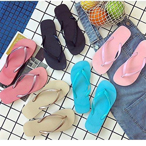 Casuales Talón Plano Antideslizante Ocasionales Fresca Zapatos Blue Chanclas Playa de Férula Verano de Sandalias Femenina Diapositivas Mujeres Zapatillas wOfg7ZqBq