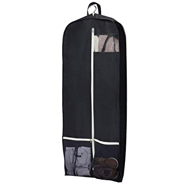 SLEEPING LAMB Breathable Gusseted Garment Bag 54  Dress Suit Cover with 2 Large Mesh Pockets, Black