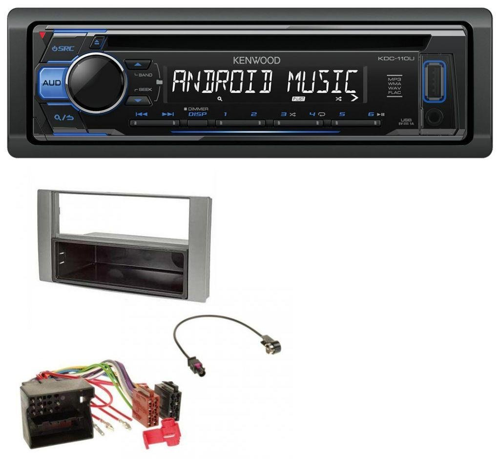 caraudio24 Kenwood KDC-110UB 1DIN MP3 USB CD Aux Autoradio fü r Ford Fiesta Focus 2004-2008 Silber