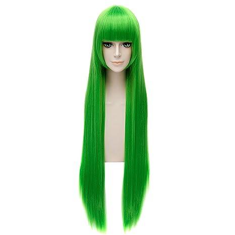 Z Pelucas Cosplay De La Mujer Verde Recto Flequillo Largo Animado Partido Resistente Peluca