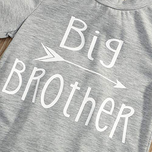 Younger star 1PC Children Baby Boy Gray Letter Print Short Sleeve T-Shirt Clothes Outfit (Gray-Brother, 3 T) by Younger star (Image #5)