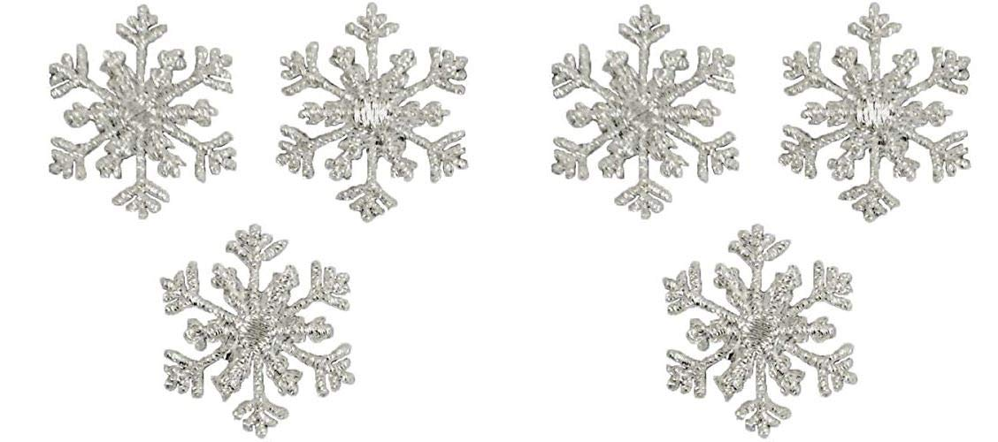 Silver Expo International Christmas Large Branch Snowflake Iron-on Applique Trim Embellishment
