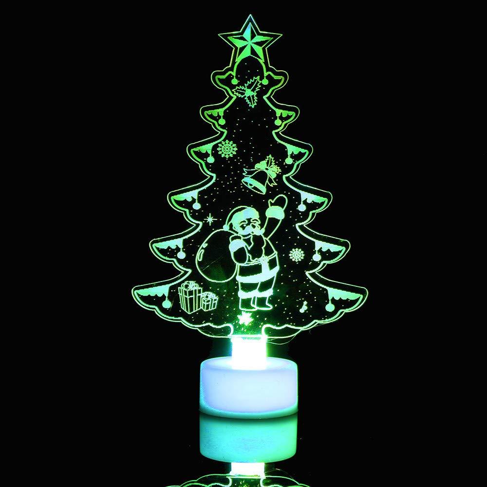Pollyhb Christmas Tree LED Light,Creative Colorful Santa Claus Butterfly LED Light Clear Acrylic Christmas Tree Mood Lamp Night (C 4 PCs)