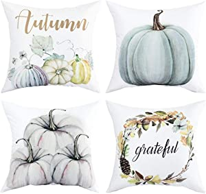 Pillow Cover Set of 4 Throw Pillow Cover Autumn Decorations Pumpkin Pillow Cover Cushion Cover for Autumn Halloween Festival Home Office Thanksgiving Day