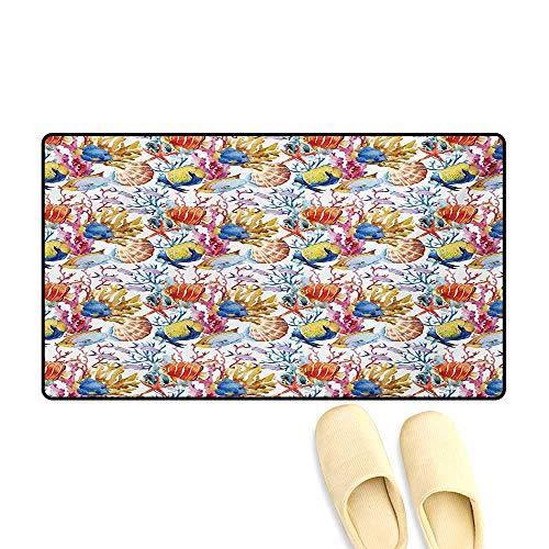 - Door-mat,Coral Reef Scallop Shells Fish Figures Sea Plants Polyp Murky Nautical Maritime Life,Bath Mats for Floors,Multicolor,32