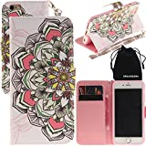 DRUnKQUEEn iPhone 6s Plus Case, iPhone 6 Plus Case, Wallet Purse Type Leather Credit Cards Case with Cellphone Holder Flip Cover for Apple iPhone 6sPlus 6Plus - Hand Strap Included