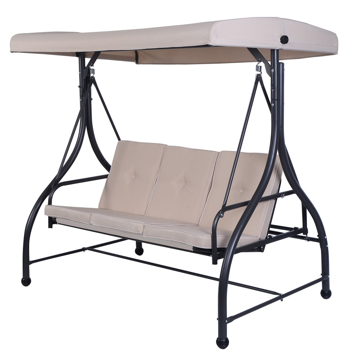 Tangkula Converting Outdoor Swing Canopy Hammock 3 Seats Patio Deck Furniture (Beige)