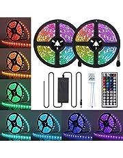 LED Strip Lights, JRINTL 32.8ft / 10m 300 LED RGB LED Light Strip 5050 LED Tape Lights, Color Changing LED Strip Lights with Remote for Home Lighting Kitchen Bed Flexible Strip Lights for Bar Home Decoration