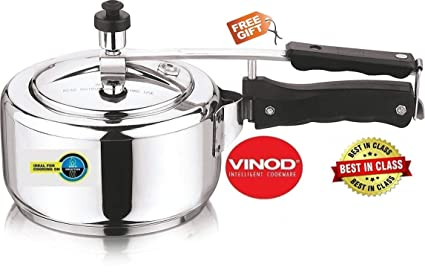 Vinod Cookware 18/8 Stainless Steel Induction Friendly Sandwhich Bottom 3 Litre Inner Lid Pressure Cooker (Free Kitchen Towel)