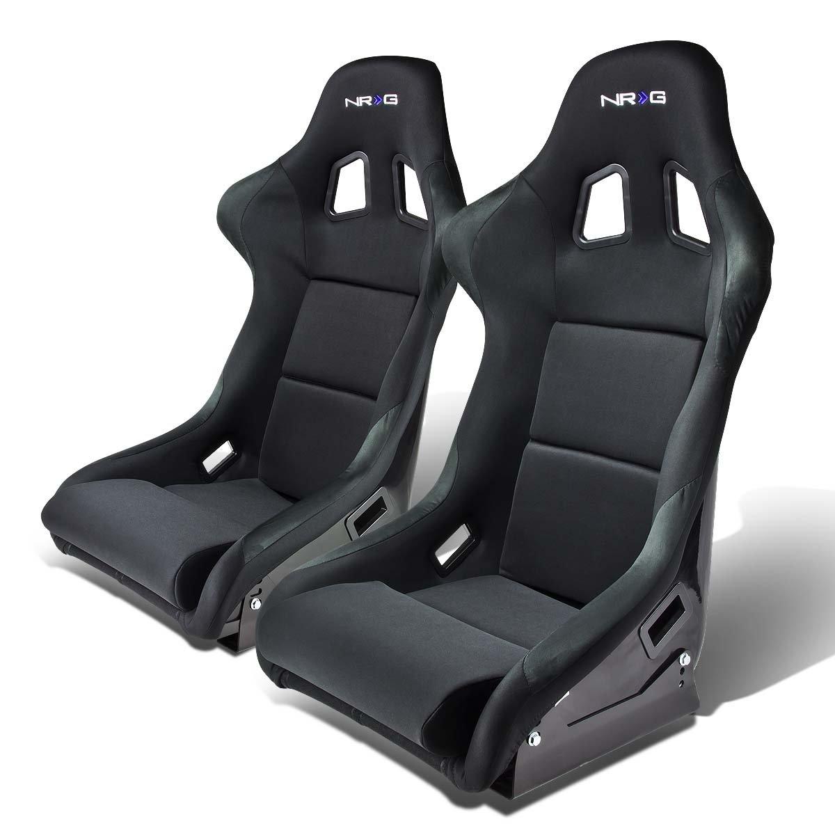 NRG FRP-310 Pair of Fiber Glass Bucket Style Racing Seat w/Adjustable Mounting Bracket (Black)