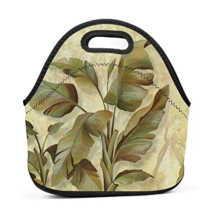 bb9debf98d55 UNVMC Banana Leaf Reusable Cotton Lunch Bag Insulated Lunch Tote ...