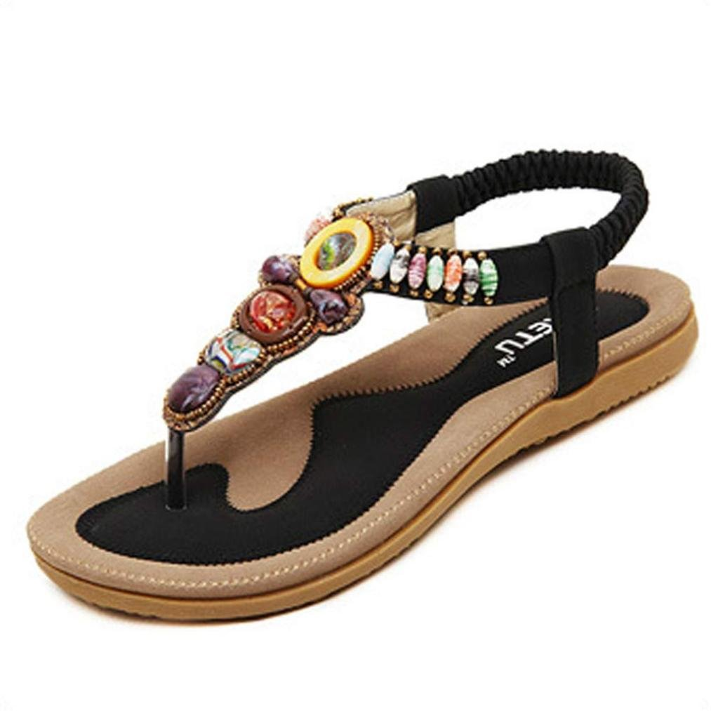 Clearance,YANG-YI Summer Women Sweet Beaded Clip Toe Flats Bohemian Sandals (Black, US-8)