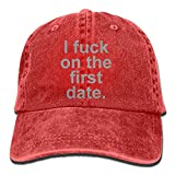 Vintage Cotton Denim Cap Baseball Hat I Fuck On The First Date Six-Panel Adjustable Trucker Dad Hat for Adults Unisex
