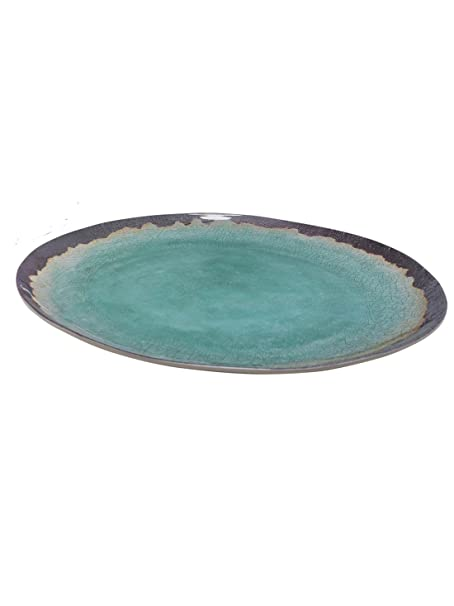 M&Co Home Turquoise Stoneware Glaze Effect Picnic Outdoor Dining ...