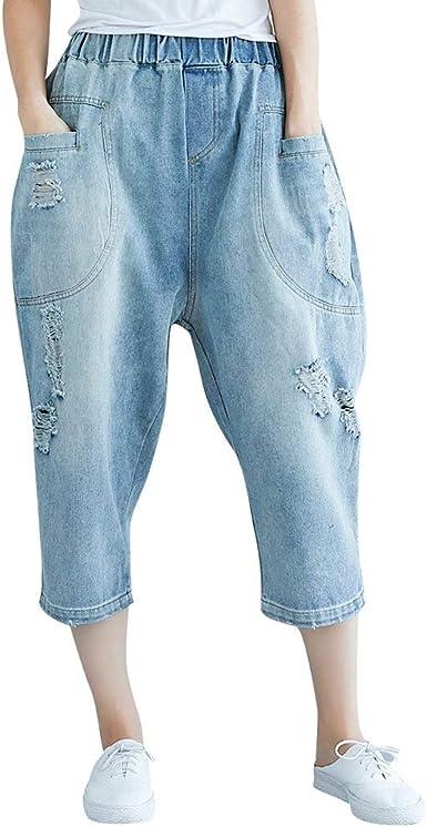 Hx Fashion Pantalones Vaqueros Rasgados Pantalones Capri Para Mujer Pantalones Anchos Basi Amazon Es Ropa Y Accesorios