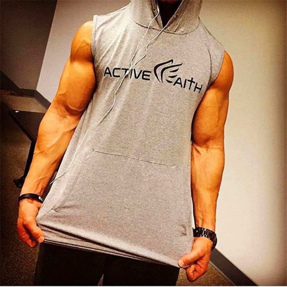DACEBEIXIN Bodybuilding Weste,Hooded Tank Top M/änner Fitnesscenter Fitness Weste Solide Bodybuilding Shirts Mens Singlet Sportswear /Ärmellose Weste