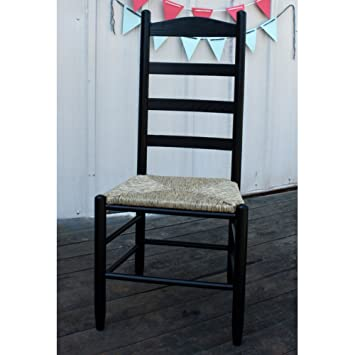 Woven Seat Ladderback Chair (Black)