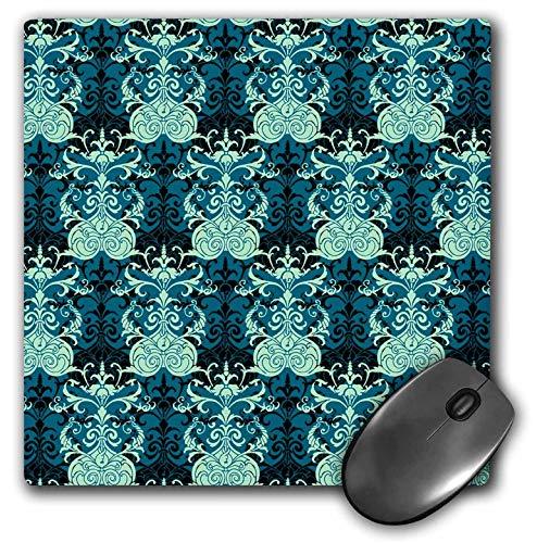 (3dRose Russ Billington Patterns - Regency Damask Pattern in Blues and Black - Mousepad (mp_241039_1))