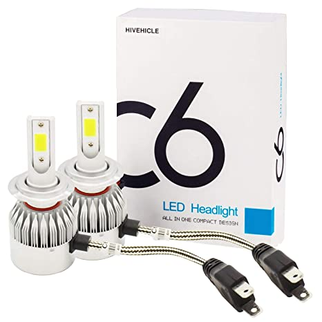 HiVehicle H7 Led Headlight Bulbs - 72W 7600LM All-In-One Conversion Kits 6000K