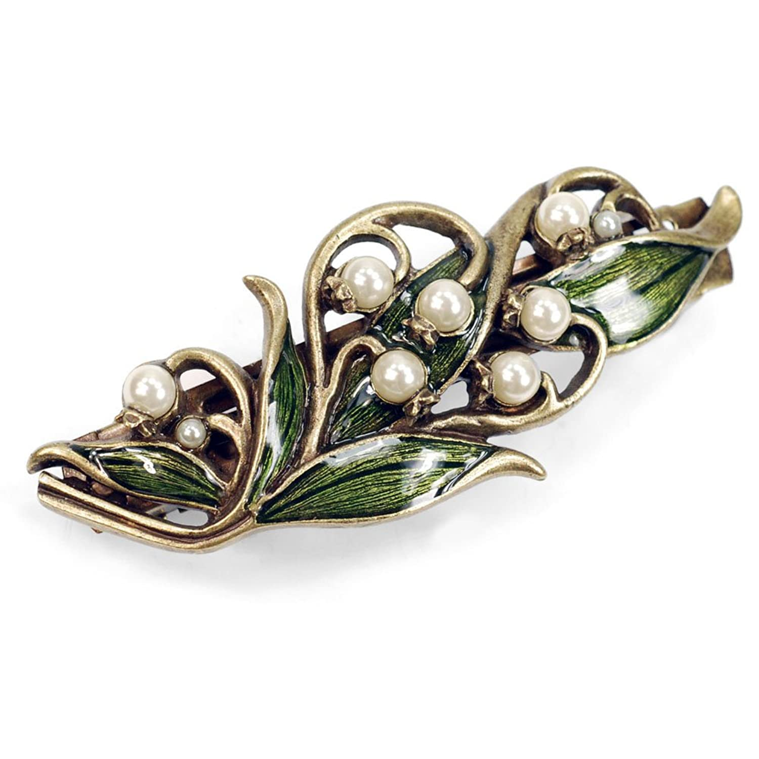 50s Jewelry: Earrings, Necklace, Brooch, Bracelet Vintage Lily of the Valley Bridal Flower Wedding Hair Barrette Clip $39.00 AT vintagedancer.com
