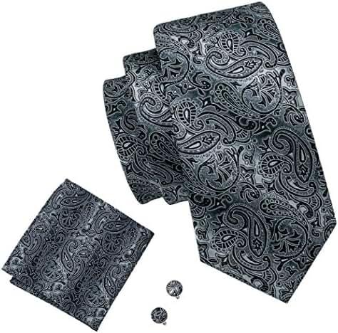 Hi-Tie Black and Grey Tie Set Silk Neckties Formal