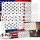 #4: 6 Pieces Star Stencil 50 Stars American Flag Template for Painting on Fabric,Airbrush,Wood,2 Large,2 Medium and 2 Small Reusable Starfield Stencils