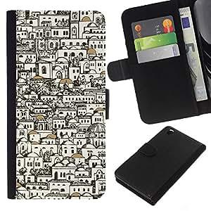 KLONGSHOP // Tirón de la caja Cartera de cuero con ranuras para tarjetas - Edificios con estilo Arquitecto Art Pen - HTC DESIRE 816 //