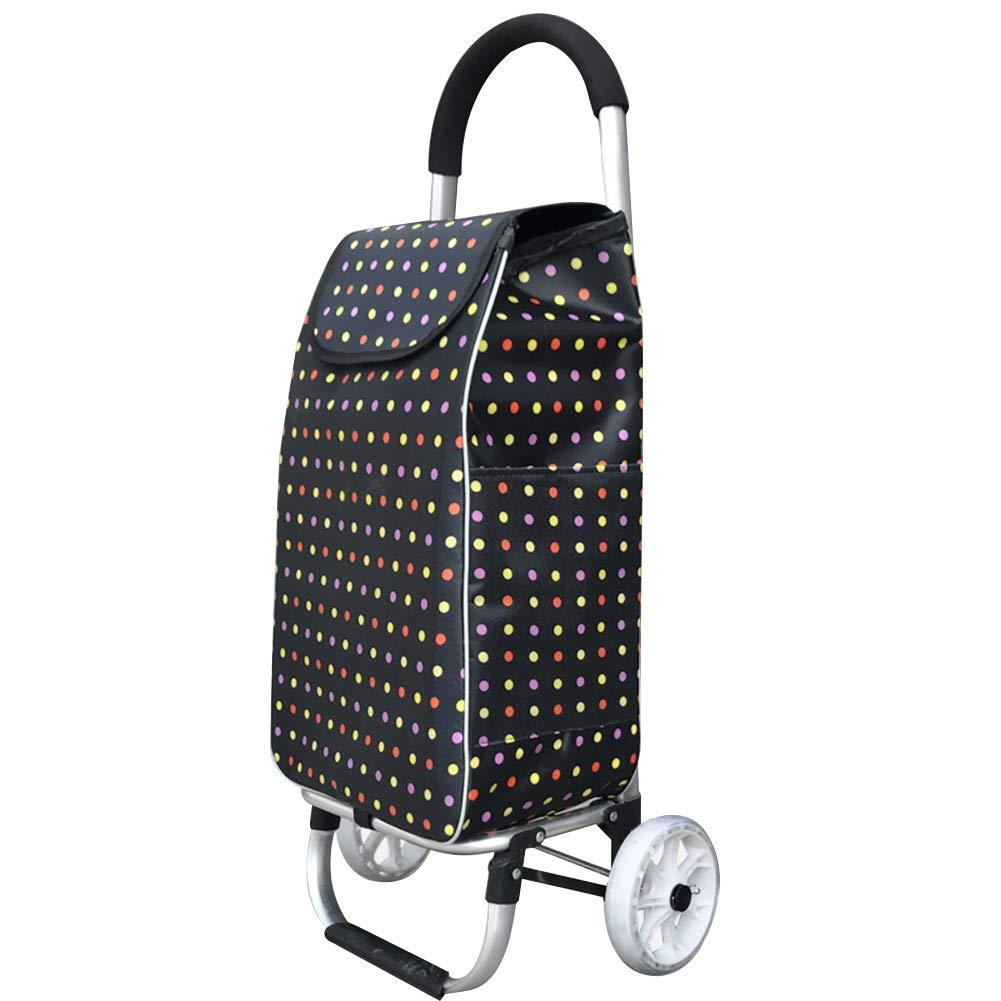 ZHAOHUI ショッピングカート アルミニウム合金 オックスフォード布 折りたたみ可能 ベアリングクリスタルホイール 防水 耐摩耗性、 荷重40kg, 7色 (色 : A) B07JNQM193 A
