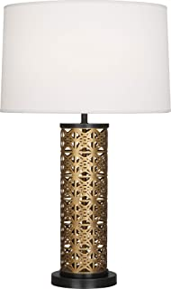 product image for Robert Abbey 527 Williamsburg Etoile - One Light Table Lamp, Warm Brass/Deep Patina Bronze Finish with Pearl Dupioni Fabric Shade
