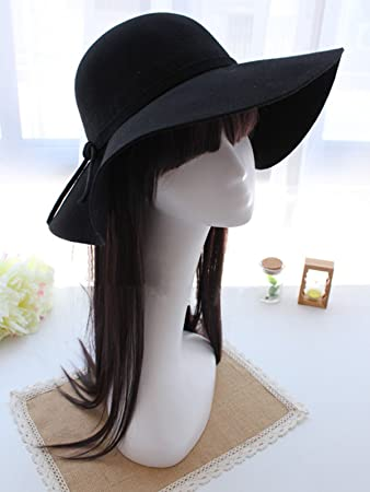 20944a308ec Image Unavailable. Image not available for. Color  Queenly New Vintage Women  Lady Wide Brim Wool Felt Bowler Fedora Hats Floppy ...