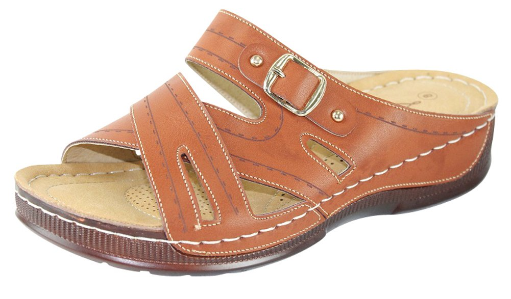 Cambridge Select Women's Crisscross Strap Comfort Padded Slip-On Low Wedge Sandal (7 B(M) US, Camel)