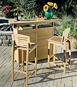 Home Style 5660-998 Bali Hai 3-Piece Outdoor Bar Cabinet and Stools, Teak Finish