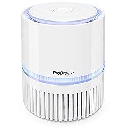 Pro Breeze Mini Purificateur d'Air 3-en-1 avec Filtre et Ioniseur True HEPA, Espace Personnel Bureau avec Veilleuse pour Maison, Allergènes | Adaptateur USB et Alimentation Secteur