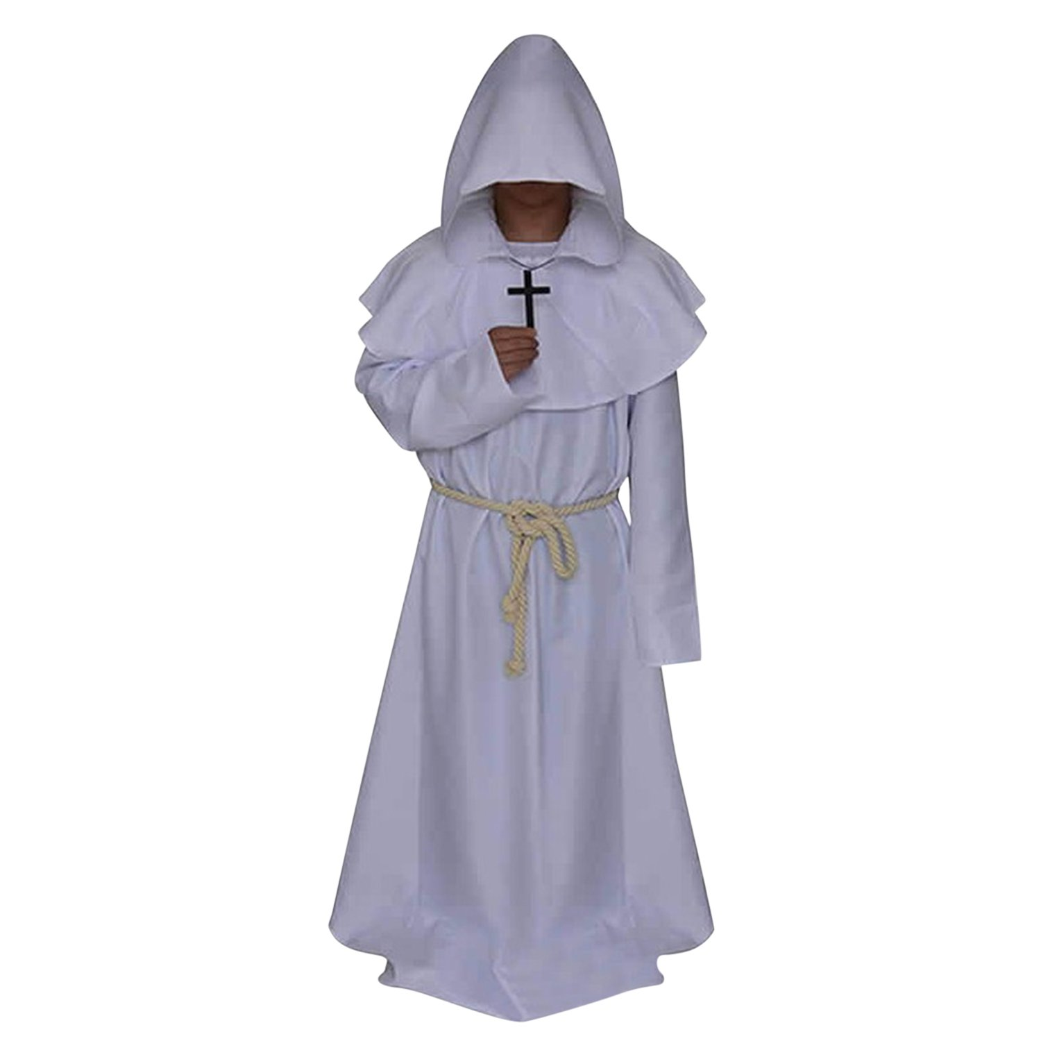 Lisli Costume Cloak Hooded Monk Renaissance Priest Robe Costume Cosplay by Lisli