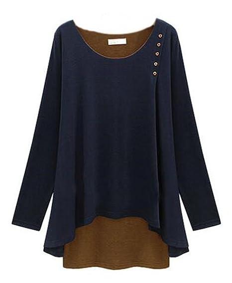 AILIENT Mujeres Camisetas De Manga De Cuello Redondo Sexi T Shirt Blusas Ocasionales Camisas Sweatshirt Largo